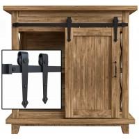 2.5-10FT Single Super Mini Sliding Barn Door Hardware Kit Cabinet TV Stand Arrow Black Classic