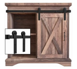 2.5-10FT Single Super Mini Sliding Barn Door Hardware Kit Cabinet TV Stand I Style Single Door Kit Black Carbon Steel
