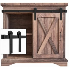 2.5-10FT Single Super Mini Sliding Barn Door Hardware Kit Cabinet TV Stand I Style Single Door Kit Black Carbon Steel