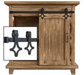2.5-10FT Super Mini  Single Door Kit Sliding Barn Door Hardware Kit Cabinet TV Stand Console rhomb