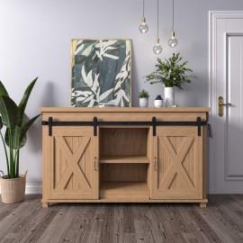 2.5-10FT  Super Mini Sliding Barn Door Hardware Kit Cabinet TV Stand J Shape New Double Door Kit Black
