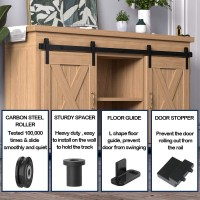 2.5-10FT  Super Mini Sliding Barn Door Hardware Kit Cabinet TV Stand J Shape New Double Door Kit Black