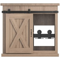 2.5-8FT Top Mount Super Mini Sliding Barn Door Hardware Kit Cabinet TV Stand Single Door Kit Black