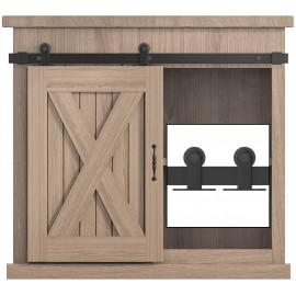 2.5-8FT Top Mount Super Mini Sliding Barn Door Hardware Kit Cabinet TV Stand Single Door Kit Black