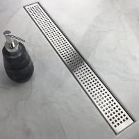 28 32 60 Inch Stainless Steel Linear Shower Drain Quadrato Pattern Hair Strainer