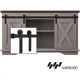 4-10 FT  Super Mini  Double Door Kit Sliding Barn Door Hardware Kit Cabinet TV Stand i Style