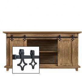4-10FT Super Mini  Double Door Kit Sliding Barn Door Hardware Kit Cabinet TV Stand Console rhomb