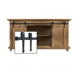 4-10FT Super Mini Sliding Barn Door Hardware Kit Double Door Kit Cabinet TV Stand Arrow Black Classic