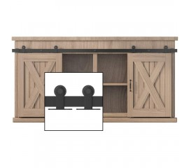 4-10FT Top Mount Super Mini Sliding Barn Door Hardware Kit Cabinet TV Stand Double Door Kit Black