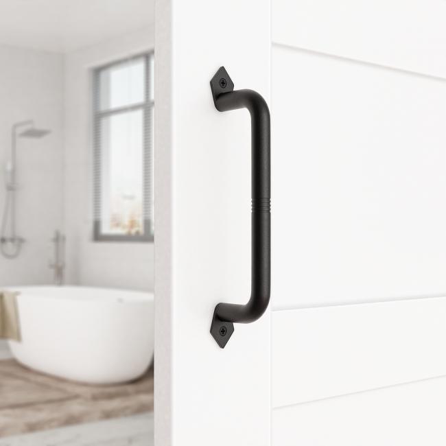 9 inch Sliding Barn Door Handle Pull Black Heavy Duty Cast Iron Hardware for Wooden Garden Gate Shed Cabinet Door