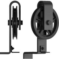 Big Black Wheel  Hanger Sliding Barn Door Single Track Bypass Hardware Steel Rollers  Accessories -Bent Shape