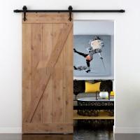 Black Clover Shape Hanger Antique Roller Kit for Sliding Barn Door Hardware 2pcs Barn Door Hanger