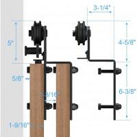 Black Hanger Sliding Barn Door Single Track Bypass Hardware Steel Rollers  Accessories -Bent Shape