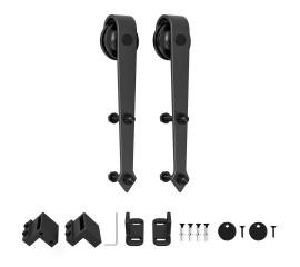 Black Roller Kit for Sliding Barn Door Hardware Arrow Design