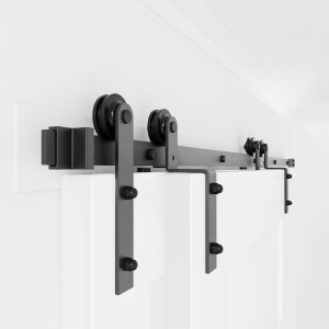Single Track Bypass Bi-part Barn Door Hardware Kit I Style