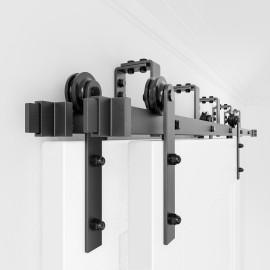 Bypass Bi-part Sliding Barn Door Hardware Track Kit I Style