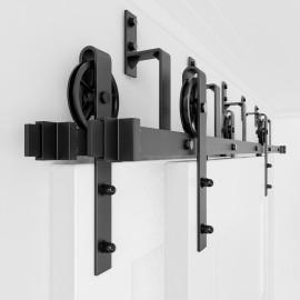 Bypass Sliding Barn Door Hardware Double Track Kit Black Wheel Spoke