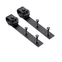 Roller Kit for Sliding Barn Door Hardware System  J Shape Hanger Black Steel