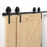 SINGLE TRACK BYPASS BI-PART BARN DOOR HARDWARE KIT BIG BLACK WHEEL