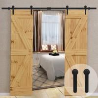 STANDARD Sliding Barn Door Hardware Hangers 2pcs (Black) (I Shape) Barn Door Hanger