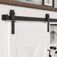 2.5-10FT  Super Mini Sliding Barn Door Hardware Kit Cabinet TV Stand J Shape New Single door kit  All Products