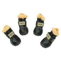 WINSOON Dog Australia Boots Pet Antiskid Shoes Winter Warm Skidproof Sneakers Paw Protectors 4-pcs Set (Size 3, Black)