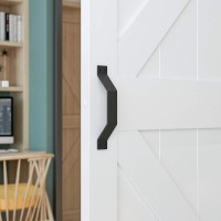 Door Handle Black Painted Solid Steel Gate Handle Pull Matte Black Ffor Sliding Barn Door