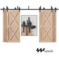 WinSoon 10-16FT Antique 4-Doors Bypass Sliding Barn Door Hardware Track Kit (Black Spoke)