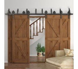 WinSoon 10-16FT Antique 4-Doors Bypass Sliding Barn Door Hardware Track Kit (Black Spoke)