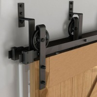 WinSoon 10-16FT Antique 4-Doors Bypass Sliding Barn Door Hardware Track Kit (Black Wheel Spoke)