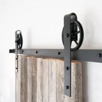 WinSoon 10-16FT Antique 4-Doors Bypass Sliding Barn Door Hardware Track Kit (Black Wheel Spoke)