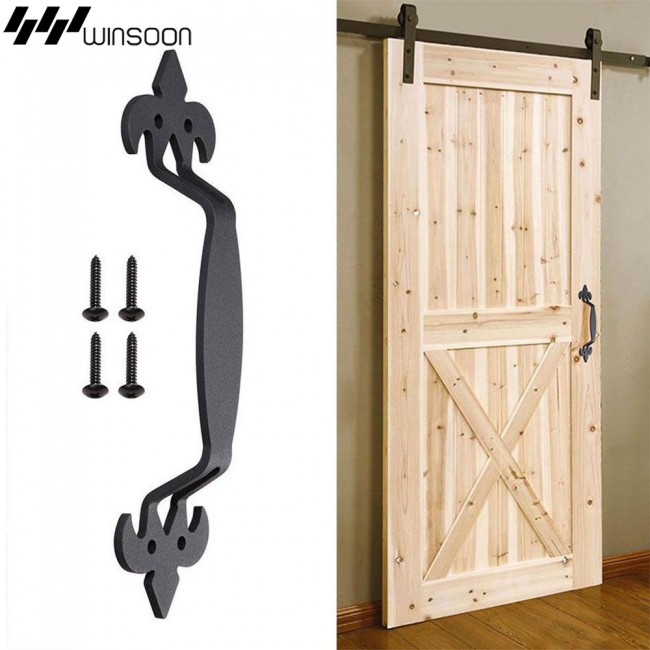 "WinSoon 11"" Industrial Style Door Handle Pull for Cabinet Closet Gate Kitchen Furniture Black"