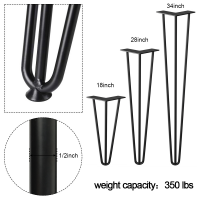 """Winsoon 18"""" 28""""  34"""" Heavy Duty Solid Hairpin Table Legs  Set of 4  Black 3-Rod DIY  With Rubber Floor Protectors"""