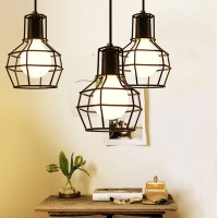 WinSoon 1PC Vintage Retro Industrial Hanging Bar Metal Ceiling Light Pendant Lamp Cage All Products