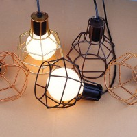 WinSoon 1PC Vintage Retro Industrial Hanging Bar Metal Ceiling Light Pendant Lamp Cage