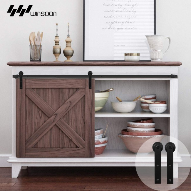 Winsoon 2.5-10 FT Single Super Mini Sliding Barn Door Hardware Track Kit Cabinet TV Stand Window Black Steel Heavy Duty