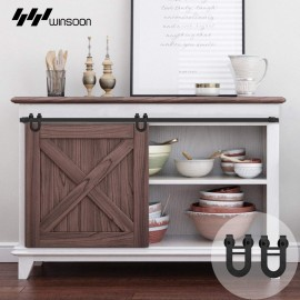 Winsoon 2.5-10 FT Super Mini Single Sliding Barn Door Hardware Track Kit Cabinet TV Stand Console Heavy Duty Horseshoe