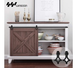 Winsoon 2.5-10FT Single Door Super Mini Sliding Barn Wooden Door Hardware Track Hanger Kit Cabinet TV Stand Console Heavy Duty
