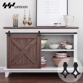 Winsoon 2.5-10FT Single Door Super Mini Sliding Barn Wooden Door Hardware Track Hanger Kit Cabinet TV Stand Console Heavy Duty