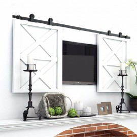 Winsoon 2.5-10FT  Vintage Double Top Mounted Super Mini Sliding Barn Door Hardware Cabinet TV Stand Console