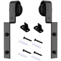 Winsoon 2 PCS Hanger Single Track Bypass Roller Barn Door Hardware I Shape Heavy Duty Black New
