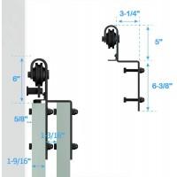 Winsoon 2 PCS Hanger Single Track Bypass Roller Barn Door Hardware I Shape Heavy Duty Black New