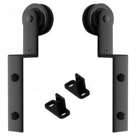 Winsoon 2 PCS Hanger Single Track Bypass Roller  Sliding Barn Door Hardware I Shape Heavy Duty Black New