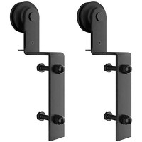 Winsoon 2 PCS Hanger Single Track Bypass Roller  Sliding Barn Door Hardware I Shape Heavy Duty Black New