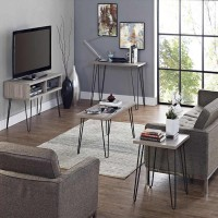 WinSoon 2 Rod Gray Legs Rustic Chunky Desk Sideboard Table Solid Steel Hairpin Set of Four