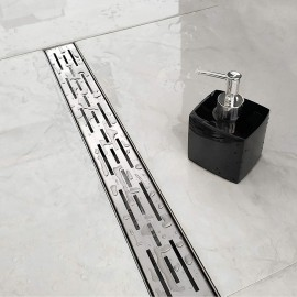 WINSOON 24 32 36 48 inch Shower Linear Drain,Removable Stripe Pattern Grate, Brushed 304 Stainless Steel Shower Floor Drain, Adjustable Leveling Feet,Hair Strainer