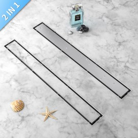 WINSOON 24-60 Inch Tile Insert Linear Shower Drain, include adjustable Leveling Feet, Hair Strainer, Brushed 304 Stainless Steel Long Rectangle Shower Floor Drain liner