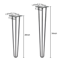 "Winsoon  28""  34"" Heavy Duty Solid Hairpin Table Legs  Set of 4  Grey 3-Rod DIY  With Rubber Floor Protectors"