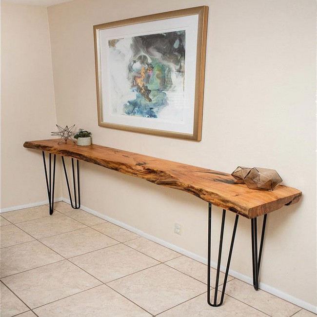 WinSoon Rod Legs Black Rustic Chunky Desk Sideboard Dressing - Rustic oak dressing table