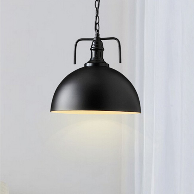 WinSoon 30cm Industrial Metal Black Pendant Light Antique